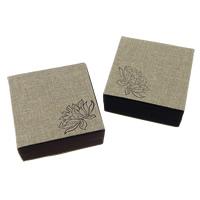 Leinen Armbandkasten, mit Baumwollsamt & Kunststoff, Quadrat, mit Blumenmuster, keine, 100x100x40mm, 20PCs/Menge, verkauft von Menge