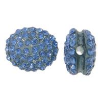 Harz Perlen Strass, flachoval, mit Strass, blau, 15x12x8mm, Bohrung:ca. 2mm, 10PCs/Tasche, verkauft von Tasche