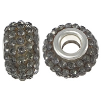 European Harz Perlen, Rondell, Platinfarbe platiniert, Messing-Dual-Core ohne troll & mit Strass, grau, 9x15mm, Bohrung:ca. 5mm, 50PCs/Menge, verkauft von Menge