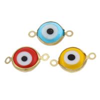 Evil Eye -Anschluss, Acryl, mit Messing, blöser Blick, verschiedene Größen vorhanden & 1/1-Schleife, gemischte Farben, Bohrung:ca. 2mm, 10PCs/Tasche, verkauft von Tasche