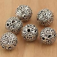 Bali Sterling Silber Perlen, Thailand, rund, hohl, 10mm, Bohrung:ca. 2mm, 5PCs/Tasche, verkauft von Tasche