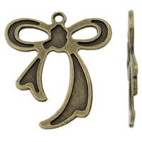 Zinklegierung Schleife Anhänger, antike Bronzefarbe plattiert, frei von Nickel, Blei & Kadmium, 31x37x2mm, Bohrung:ca. 2mm, 20PCs/Tasche, verkauft von Tasche