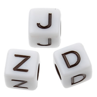 Alphabet Acryl Perlen, Würfel, gemischtes Muster & Volltonfarbe, weiß, 7x7mm, Bohrung:ca. 3mm, ca. 2000PCs/Tasche, verkauft von Tasche