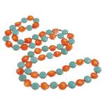 Natürliche Koralle Pullover Halskette, mit Türkis & Nylonschnur, 12x5mm, 11x12x6mm, verkauft per ca. 35.5 ZollInch Strang