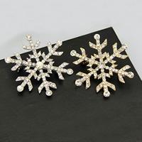 Weihnachten Broschen, Zinklegierung, Schneeflocke, plattiert, Weihnachtsschmuck & mit Strass, keine, frei von Nickel, Blei & Kadmium, 45x45mm, 30PCs/Menge, verkauft von Menge