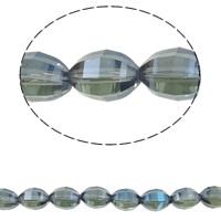 Klasse AA Kristallperlen, Kristall, oval, bunte Farbe plattiert, facettierte & AA grade crystal, Montana, 10x13mm, Bohrung:ca. 1.5mm, ca. 50PCs/Strang, verkauft per ca. 15.5 ZollInch Strang