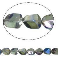 Klasse AA Kristallperlen, Kristall, Klumpen, bunte Farbe plattiert, AA grade crystal, grasgrün, 12x15mm, Bohrung:ca. 1mm, ca. 40PCs/Strang, verkauft per ca. 15.5 ZollInch Strang