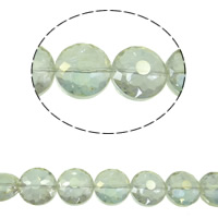Klasse AA Kristallperlen, Kristall, flache Runde, bunte Farbe plattiert, verschiedene Größen vorhanden & facettierte & AA grade crystal, kristallgrün, Bohrung:ca. 1mm, verkauft per ca. 15.5 ZollInch Strang