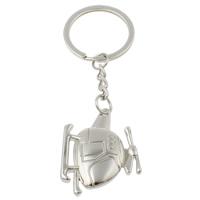 Zinklegierung Schlüsselanhänger, mit Eisen Ring, Flugzeug, Platinfarbe platiniert, frei von Nickel, Blei & Kadmium, 35x44x6mm, Bohrung:ca. 29mm, Länge:ca. 4 ZollInch, 10SträngeStrang/Tasche, verkauft von Tasche