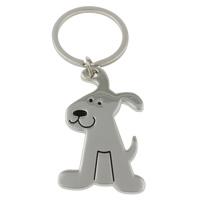 Zinklegierung Schlüsselanhänger, mit Eisen Ring, Hund, Platinfarbe platiniert, Emaille, frei von Nickel, Blei & Kadmium, 35x58x2.50mm, Bohrung:ca. 29mm, Länge:ca. 3.5 ZollInch, 10SträngeStrang/Tasche, verkauft von Tasche