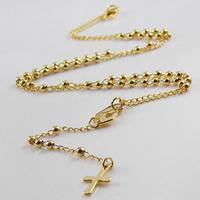 Titanstahl Halskette, Kreuz, goldfarben plattiert, Twist oval, 3mm, 9x95mm, Länge:ca. 20 ZollInch, 2SträngeStrang/Tasche, verkauft von Tasche