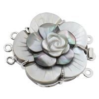 Messing Schnappschließe, mit Schwarze Muschel, Blume, platiniert, 3-Strang, frei von Nickel, Blei & Kadmium, 35x28x9mm, Bohrung:ca. 1mm, verkauft von PC