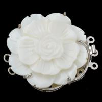 Messing Schnappschließe, mit Weiße Muschel, Blume, platiniert, 3-Strang, frei von Nickel, Blei & Kadmium, 44x38x12mm, Bohrung:ca. 1-2mm, verkauft von PC