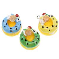 Harz Anhänger, mit Eisen, Kuchen, Volltonfarbe, keine, 20x15mm, Bohrung:ca. 2mm, 100PCs/Tasche, verkauft von Tasche