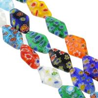 Millefiori Glasperlen, Glas Millefiori, Rhombus, handgemacht, verschiedene Größen vorhanden, gemischte Farben, Bohrung:ca. 1mm, Länge:ca. 14.5 ZollInch, verkauft von Tasche