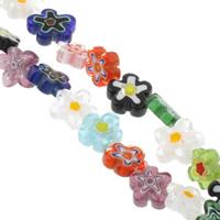 Millefiori Glasperlen, Glas Millefiori, Blume, handgemacht, gemischte Farben, 10-15mm, Bohrung:ca. 1mm, Länge:ca. 13.5 ZollInch, 10SträngeStrang/Tasche, verkauft von Tasche