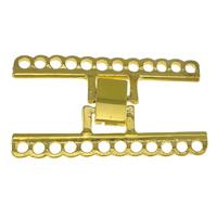 Zinklegierung Fold Over Verschluss, goldfarben plattiert, 12 -Strang-, frei von Nickel, Blei & Kadmium, 41x24x2mm, Bohrung:ca. 2mm, 50PCs/Menge, verkauft von Menge