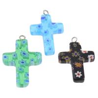 Millefiori Glas Anhänger Schmuck, Glas Millefiori, mit Eisen, Kreuz, handgemacht, gemischte Farben, 18x29x3mm, Bohrung:ca. 1.5mm, 10PCs/Tasche, verkauft von Tasche