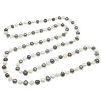 Natürliche Süßwasser Perle Halskette, Natürliche kultivierte Süßwasserperlen, Kartoffel, zweifarbig, 9-12mm, verkauft per ca. 45.5 ZollInch Strang
