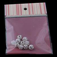Strass Messing Perlen, mit OPP, Trommel, silberfarben plattiert, mit Strass, klar, frei von Nickel, Blei & Kadmium, 12x10mm, 100x170mm, Bohrung:ca. 3mm, 10PCs/Tasche, verkauft von Tasche
