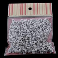 Alphabet Acryl Perlen, flache Runde, gemischtes Muster & Volltonfarbe, 7x3mm, 100x170mm, Bohrung:ca. 1mm, ca. 240PCs/Tasche, verkauft von Tasche