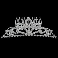 Dekoratives Haarkämmchen, Messing, mit Eisenstift, Krone, silberfarben plattiert, mit Strass, frei von Nickel, Blei & Kadmium, 111x40x3mm, verkauft von PC
