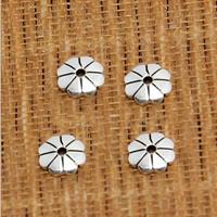 Bali Sterling Silber Perlenkappen, Thailand, Blume, 5mm, Bohrung:ca. 0.5mm, 200PCs/Menge, verkauft von Menge