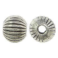 Zink Legierung Perlen Schmuck, Zinklegierung, rund, antik silberfarben plattiert, gewellt, frei von Nickel, Blei & Kadmium, 5.50x6mm, Bohrung:ca. 2mm, 500PCs/Menge, verkauft von Menge