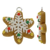 Resin Weihnachtsanhänger, Harz, mit Eisen, Schneeflocke, Weihnachtsschmuck, farbenfroh, 21x35mm, Bohrung:ca. 3mm, 20PCs/Tasche, verkauft von Tasche