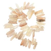 Natürliche gefärbten Quarz Perlen, Klarer Quarz, Klumpen, Rosa, 5-10x23-44x6-11mm, Bohrung:ca. 1mm, Länge:ca. 16 ZollInch, 2SträngeStrang/Menge, ca. 54PCs/Strang, verkauft von Menge