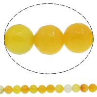 Natürliche gelbe Achat Perlen, Gelber Achat, rund, facettierte, 12mm, Bohrung:ca. 1mm, Länge:ca. 14.5 ZollInch, 10SträngeStrang/Menge, ca. 32PCs/Strang, verkauft von Menge