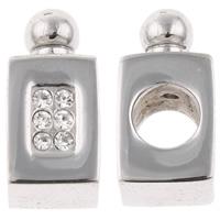 Edelstahl European Perlen, Parfümflasche, ohne troll & mit Strass, originale Farbe, 7x15x7mm, Bohrung:ca. 5mm, verkauft von PC