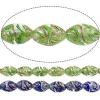 Goldsand & Silberfolie Lampwork Perlen, oval, keine, 16x11mm, Bohrung:ca. 2mm, Länge:ca. 16 ZollInch, 2SträngeStrang/Menge, ca. 25PCs/Strang, verkauft von Menge