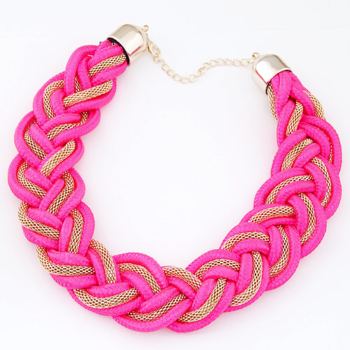 Buy Nylon Cord Necklace Zinc Alloy bright rosy red 400x35mm Sold Per Approx 15.75 Inch Strand