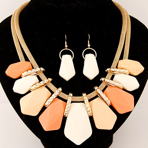 Buy Statement Jewelry Sets earring & necklace Zinc Alloy Resin 5cm extender chain gold color plated mesh chain lead & cadmium free 400x150x55mm 52x18mm Length:Approx 15.75 Inch Sold Set