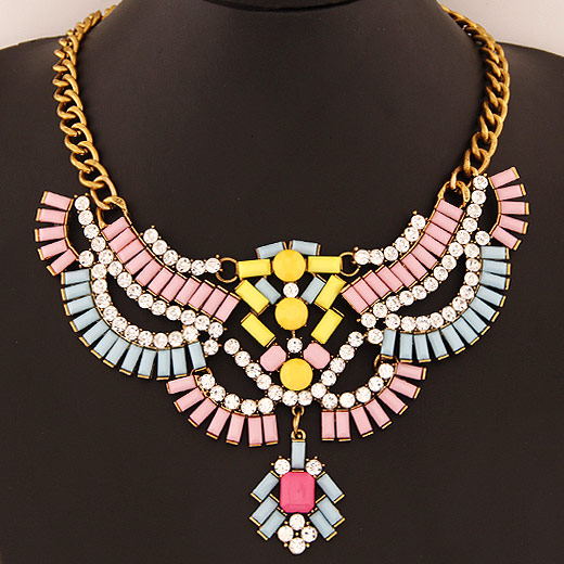 Buy Fashion Statement Necklace Zinc Alloy Resin antique gold color plated faceted lead & cadmium free 400mm Sold Per Approx 15.75 Inch Strand