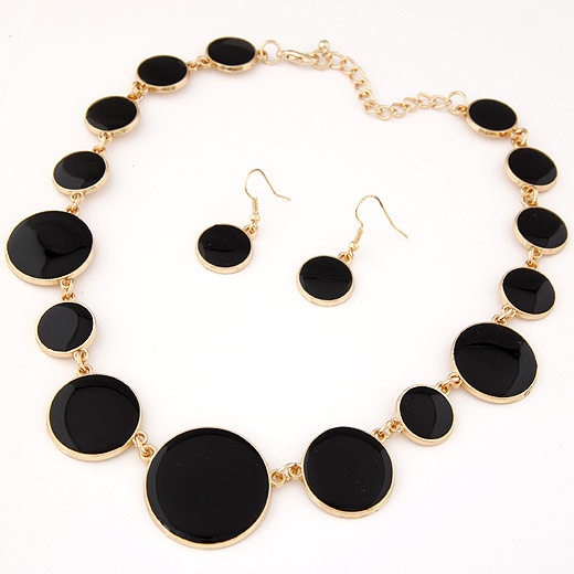 Buy Zinc Alloy Jewelry Sets earring & necklace Flat Round gold color plated enamel black lead & cadmium free 400mm 38x17mm Length:Approx 15.75 Inch Sold Set