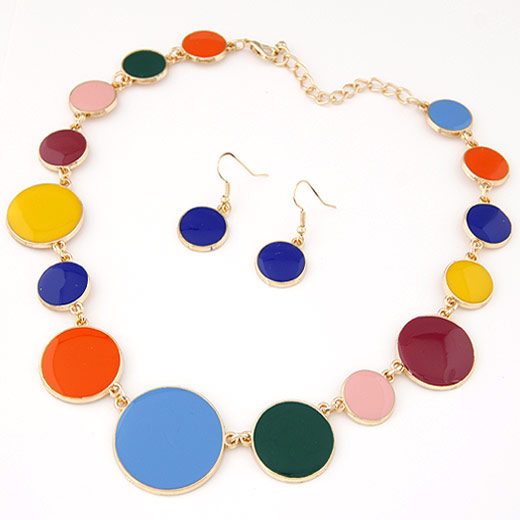 Buy Zinc Alloy Jewelry Sets earring & necklace Flat Round gold color plated enamel lead & cadmium free 38x17mm Length:Approx 15.75 Inch Sold Set