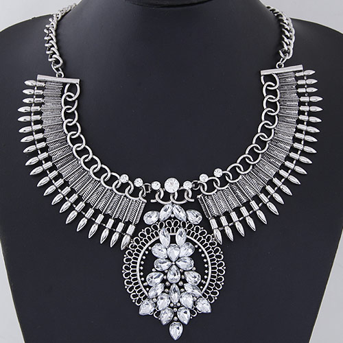 Buy Fashion Statement Necklace Zinc Alloy antique silver color plated faceted & rhinestone lead & cadmium free 400x120x85x55mm Sold Per Approx 15.75 Inch Strand