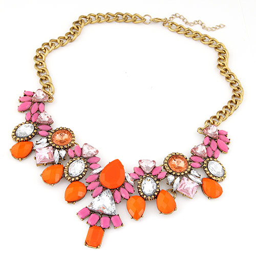 Buy Fashion Statement Necklace Zinc Alloy Rhinestone & Resin 5cm extender chain antique gold color plated lead & cadmium free 400mm Sold Per Approx 15.75 Inch Strand