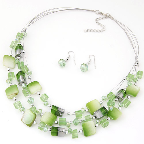 Buy Shell Jewelry Sets earring & necklace Zinc Alloy Shell & Crystal 5cm extender chain platinum color plated faceted green lead & cadmium free 400x15 27x9mm Length:Approx 15.75 Inch Sold Set