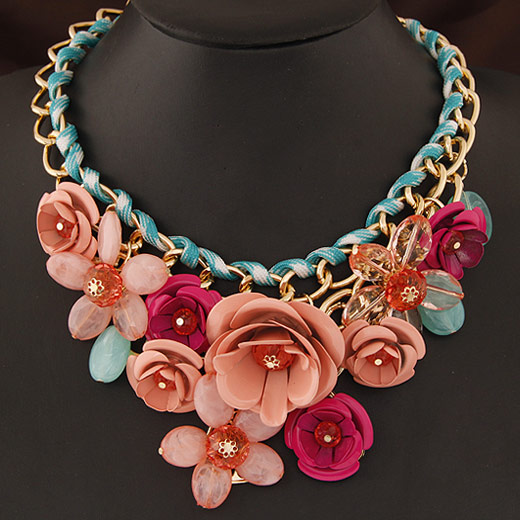 Buy Fashion Statement Necklace Zinc Alloy Resin Flower gold color plated multi-colored lead & cadmium free 400x120x80mm Sold Per Approx 15.75 Inch Strand