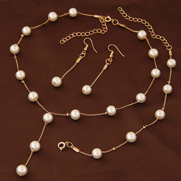 Buy Zinc Alloy Jewelry Sets bracelet & earring & necklace ABS Plastic Pearl 5cm extender chain Round gold color plated lead & cadmium free 400mm Length:Approx 15.75 Inch Sold Set