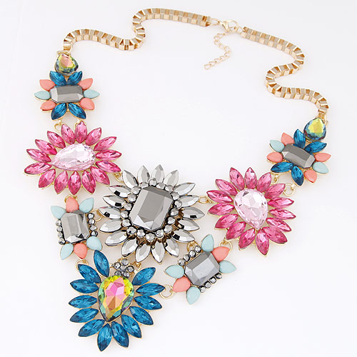 Buy Fashion Statement Necklace Zinc Alloy Resin Flower gold color plated box chain & faceted & rhinestone multi-colored lead & cadmium free 400mm Sold Per Approx 15.75 Inch Strand
