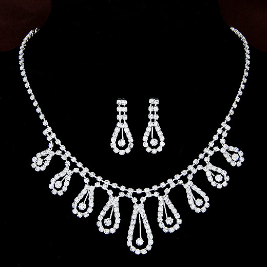 Buy Rhinestone Jewelry Sets earring & necklace Zinc Alloy platinum color plated rhinestone lead & cadmium free 400mm Length:Approx 15.75 Inch Sold Set
