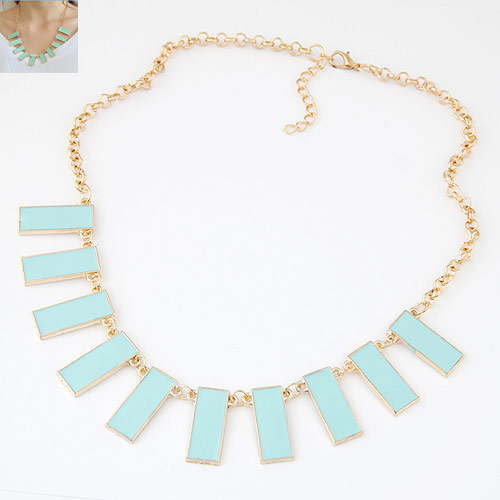 Buy Zinc Alloy Jewelry Necklace 5cm extender chain Rectangle gold color plated rolo chain & enamel skyblue lead & cadmium free 400mm Sold Per Approx 15.75 Inch Strand