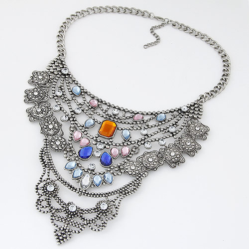 Buy Fashion Statement Necklace Zinc Alloy Resin Flower antique silver color plated lead & cadmium free 400mm Sold Per 15.75 Inch Strand