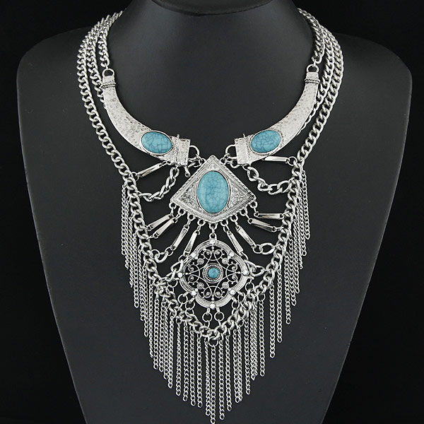 Buy Fashion Statement Necklace Zinc Alloy Resin Flower antique silver color plated blue lead & cadmium free 400mm Sold Per Approx 15.75 Inch Strand