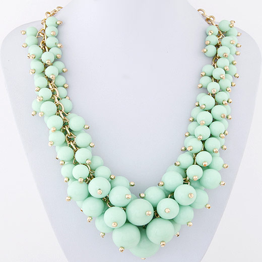 Harz Halskette, mit Eisen, rund, goldfarben plattiert, abgestufte Perlen, hellgrün, 45mm, verkauft per ca. 15.5 ZollInch Strang