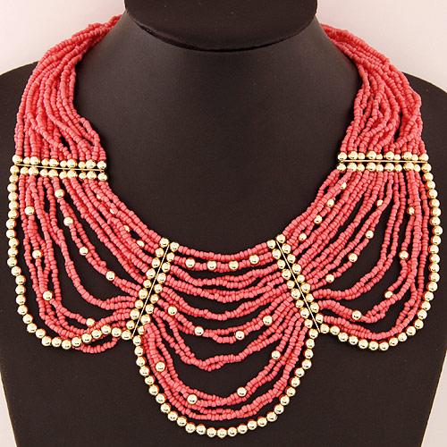 Glasperlen -Halsketten-, Zinklegierung, mit Glas-Rocailles, mit Verlängerungskettchen von 5cm, goldfarben plattiert, rot, frei von Blei & Kadmium, 420mm, verkauft per ca. 16.5 ZollInch Strang